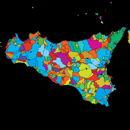 Sicily Island, Italy, Colorful Vector Map on Black, printable outline Version, ready for color change, Separated On White