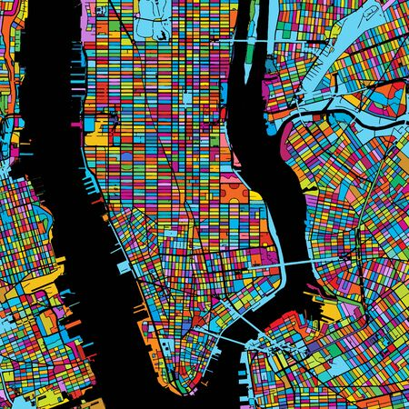 New York City, USA, Colorful Vector Map on Black, printable outline Version, ready for color change, Separated On White