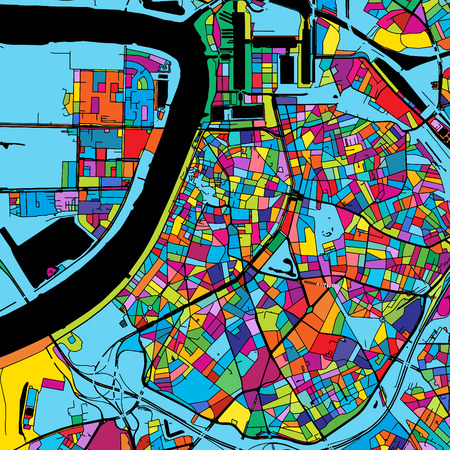 Antwerp Colorful Vector Map on Black, Artprint. printable outline Version, ready for color change, Separated On White. Illustration