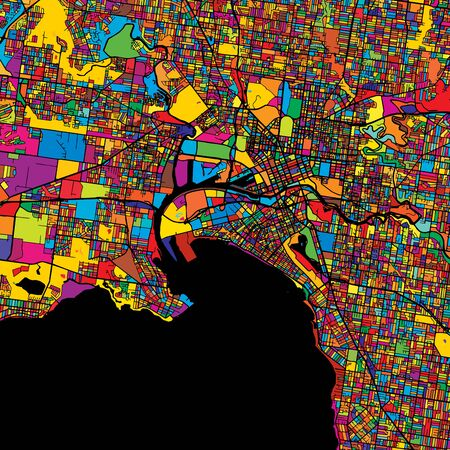 Melbourne Colorful Vector Map on Black, Artprint. printable outline Version, ready for color change, Separated On White. Illustration