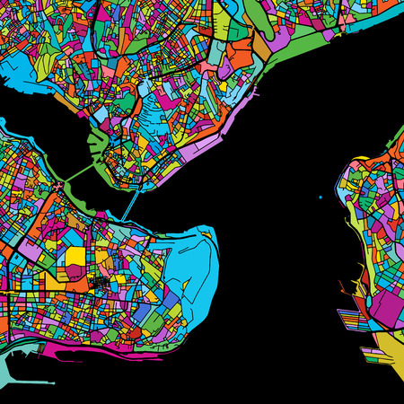 Istanbul Colorful Vector Map on Black, printable outline Version, ready for color change, Separated On White