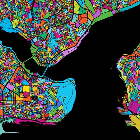 Istanbul Kleurrijke vectorkaart op zwart, printbare omtrekversie, klaar voor kleurverandering, gescheiden op wit Stock Illustratie
