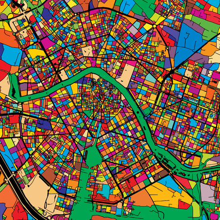 Valencia Colorful Vector Map on Black, Artprint. printable outline Version, ready for color change, Separated On White.