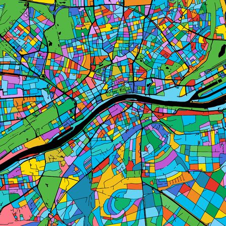 Frankfurt Colorful Vector Map on Black, Artprint. printable outline Version, ready for color change, Separated On White.
