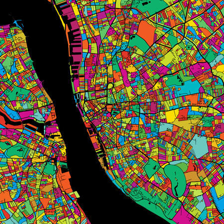Liverpool Colorful Vector Map on Black, printable outline Version, ready for color change, Separated On White