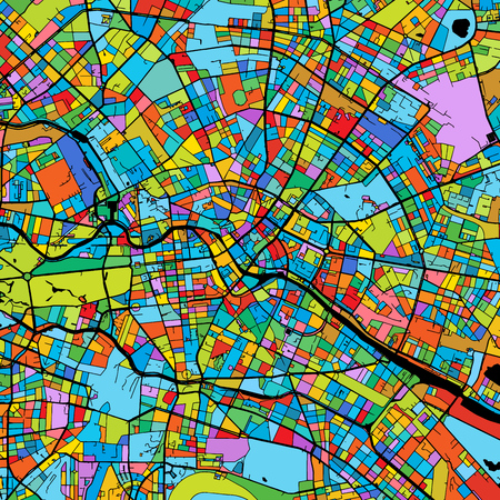 Berlin Colorful Vector Map on Black, printable outline Version, ready for color change, Separated On White