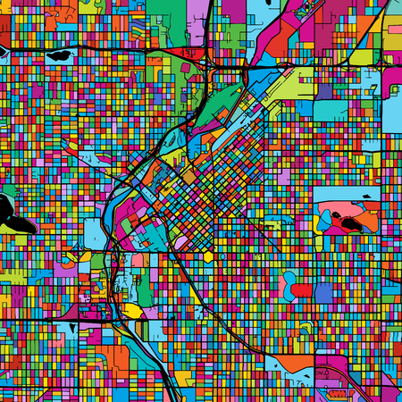 Denver Colorful Vector Map on Black, Artprint. printable outline Version, ready for color change, Separated On White.