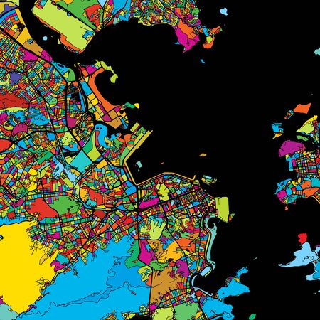 Rio de Janeiro, Brazil, Colorful Vector Map on Black, printable outline Version, ready for color change, Separated On White