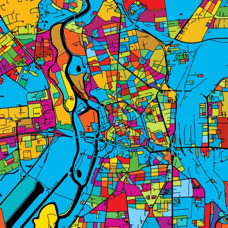 Halle Saale, Germany, Colorful Vector Map on Black, printable outline Version, ready for color change, Separated On White.