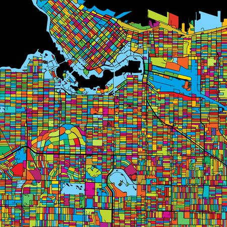 Vancouver Canada, Colorful Vector Map on Black, printable outline Version, ready for color change, Separated On White