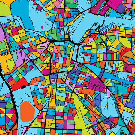 Leipzig, Germany Colorful Vector Map on Black, printable outline Version, ready for color change, Separated On White
