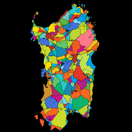 Sardinia, Island, Italy, Colorful Vector Map on Black, printable outline Version, ready for color change, Separated On White  イラスト・ベクター素材