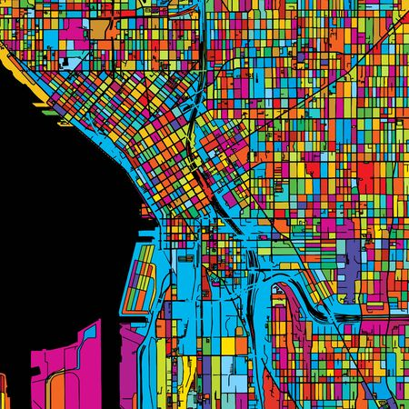 Seattle, Washington, USA, Colorful Vector Map on Black, printable outline Version, ready for color change, Separated On White Illustration
