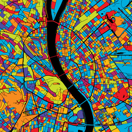 Budapest Colorful Vector Map on Black, Artprint. printable outline Version, ready for color change, Separated On White.