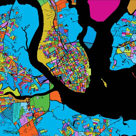 Charleston Colorful Vector Map on Black, Artprint. printable outline Version, ready for color change, Separated On White.
