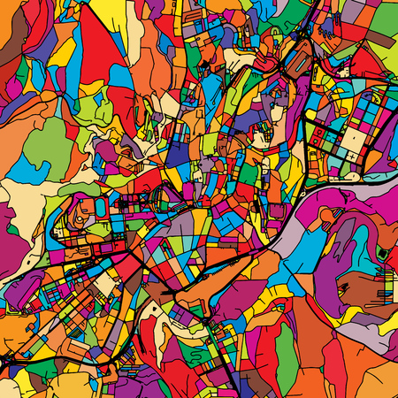 Santiago de Compostela Colorful Vector Map on Black, Artprint. printable outline Version, ready for color change, Separated On White.