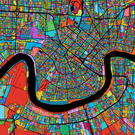 New Orleans Colorful Vector Map on Black, Artprint. printable outline Version, ready for color change, Separated On White.