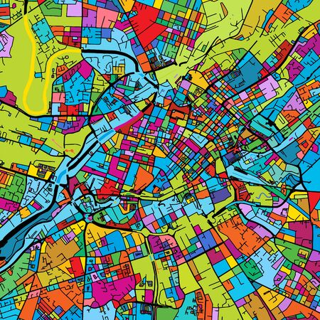 Manchaster, England, Colorful Vector Map on Black, printable outline Version, ready for color change, Separated On White