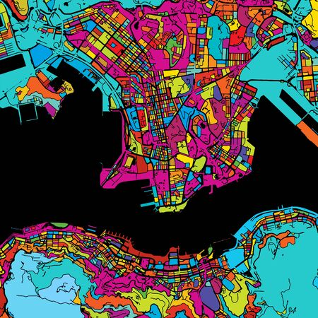 Hong Kong Colorful Map on Black, printable outline Version, ready for color change, Artprint, Separated On White