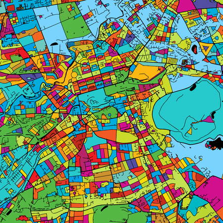 Edinburgh, Scotland, Colorful Vector Map on Black, printable outline Version, ready for color change, Separated On White