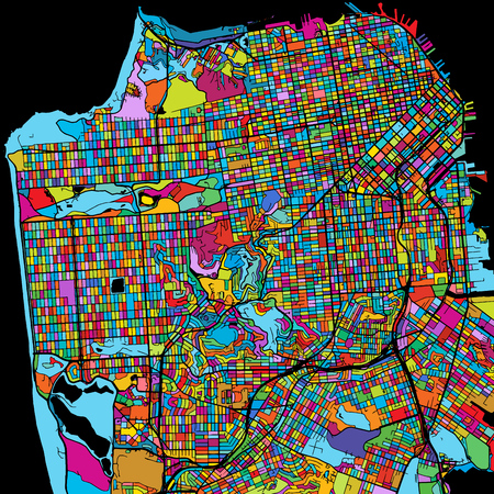San Francisco, USA, Colorful Vector Map on Black, printable outline Version, ready for color change, Separated On White