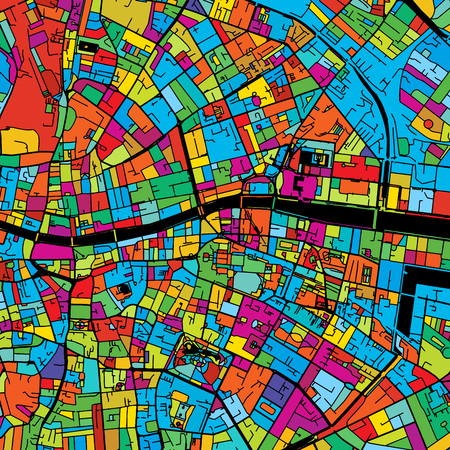 Dublin, Ireland, Colorful Vector Map on Black, printable outline Version, ready for color change, Separated On White.  イラスト・ベクター素材