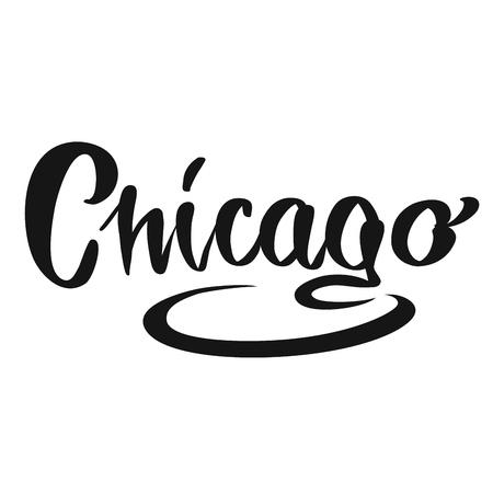 Chicago calligraphic Lettering. Handmade vector phrase. Modern brush calligraphy. Illustration