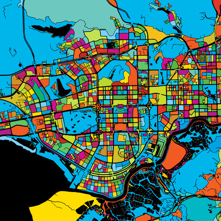 Shenzen Colorful Vector Map on Black, printable outline Version, ready for color change, Separated On White