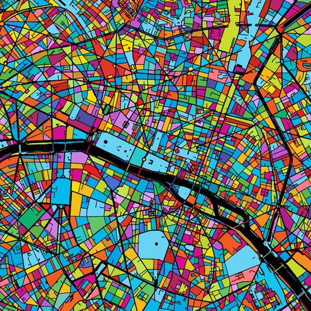 Paris, France, Colorful Vector Map on Black, printable outline Version, ready for color change, Separated On White. Illustration