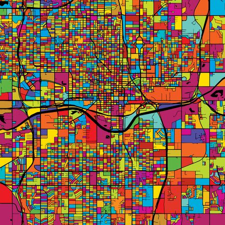 Oklahoma City Colorful Vector Map on Black, Artprint. printable outline Version, ready for color change, Separated On White.