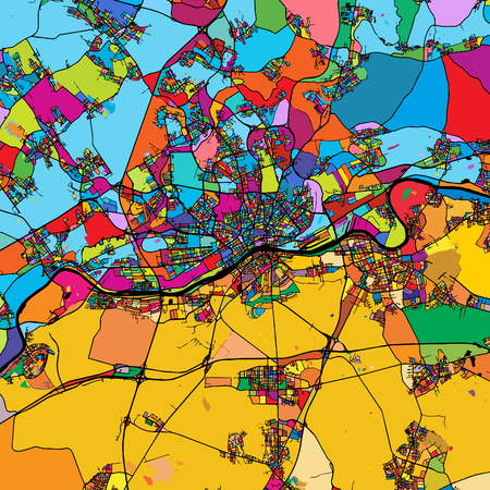 Frankfurt am Main Area Colorful Vector Map on Black, Artprint. printable outline Version, ready for color change, Separated On White. Illustration