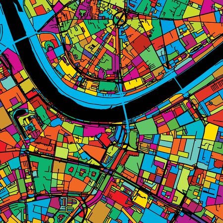 Dresden, Germany, Colorful Vector Map on Black, printable outline Version, ready for color change, Separated On White