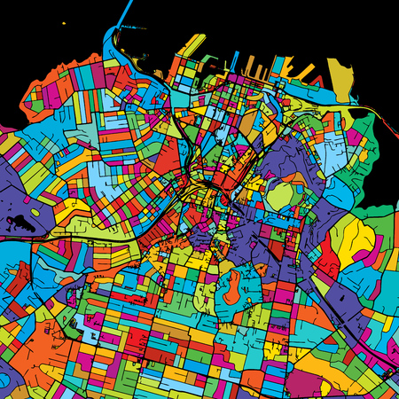 Auckland Colorful Vector Map on Black, Artprint. printable outline Version, ready for color change, Separated On White.