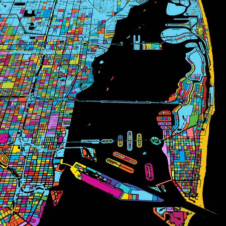 Miami and Miami Beach Colorful Vector Map on Black, Artprint. printable outline Version, ready for color change, Separated On White. Illustration
