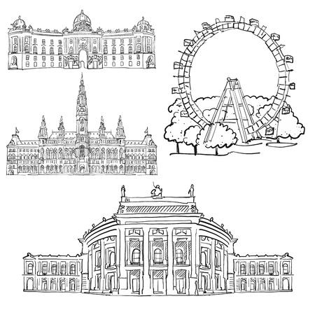 Vienna Austria Famous Buildings, Monochrome Outlined Travel Landmarks, Scalable Vector Illustration