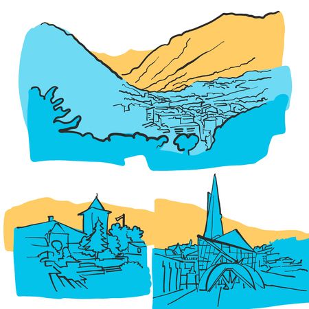 Andorra la Vella Colored Landmarks, Scalable Vector monument. Filled with Blue Shape and Yellow highlights.