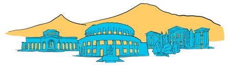 Yerevan Armenia Colored Panorama Illustration