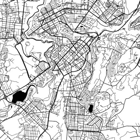 Yerevan Armenia Vector Map Monochrome Artprint, Vector Outline Version for Infographic Background, Black Streets and Waterways Illustration