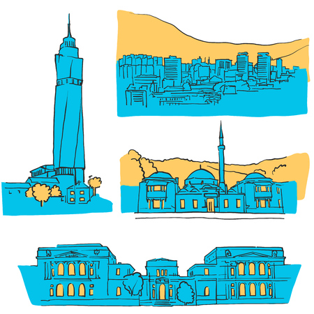 Sarajevo Bosnia and Herzegovina Colored Landmarks, Scalable Vector Monuments. Filled with Blue Shape and Yellow Highlights. Illustration