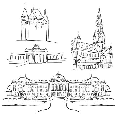 Beroemde gebouwen van Brussel België, monochroom geschetst reizen monumenten, schaalbare vectorillustratie
