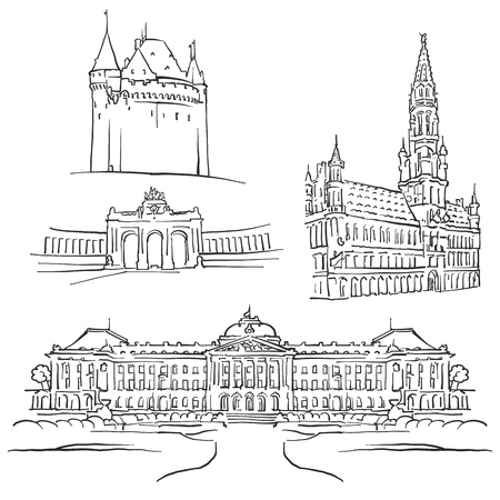 Brussels Belgium Famous Buildings, Monochrome Outlined Travel Landmarks, Scalable Vector Illustration