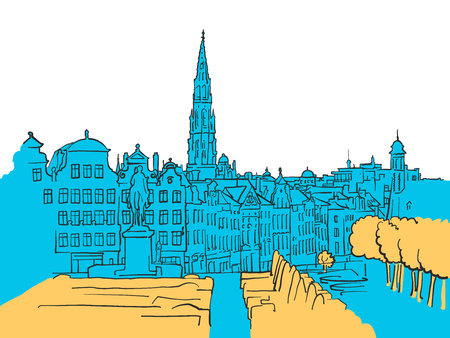 Brussels Belgium Colored Scene, Filled with Blue Shape and Yellow Highlights. Scalable Urban Cityscape Vector Illustration