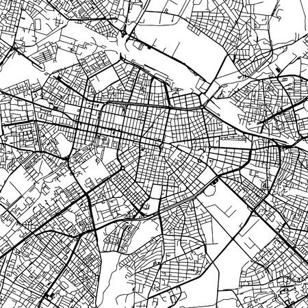 Sofia Bulgaria Vector Map Monochrome Artprint, Outline Version for Infographic Background, Black Streets and Waterways