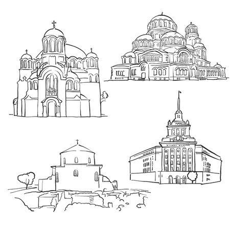Sofia Bulgarije Beroemde Gebouwen, Monochroom Geschetst Reisoriëntatiepunten, Schaalbare Vectorillustratie
