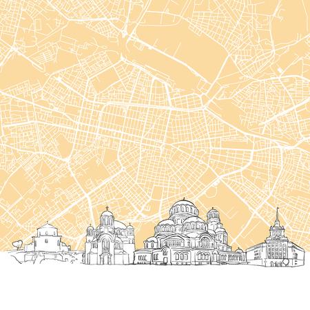 ブルガリア ソフィア スカイライン マップ、1 つの色の都市街並みのイラストとスケーラブルなベクトル アート プリント  イラスト・ベクター素材