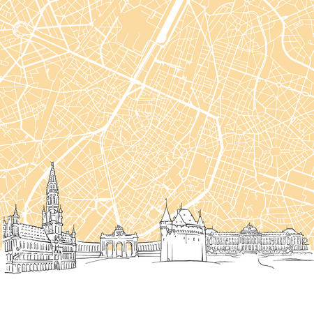 Brussels Belgium Skyline Map, One Color Scalable Vector Art Print with Urban Cityscape Illustration
