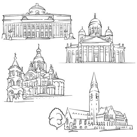 Helsinki Finland Famous Buildings, Monochrome Outlined Travel Landmarks, Scalable Vector Illustration Çizim