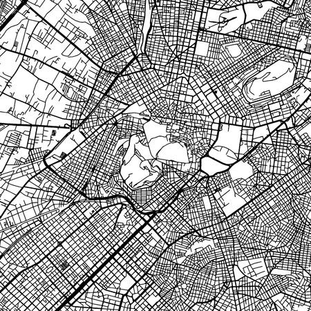 Athens Greece Vector Map Monochrome Artprint.