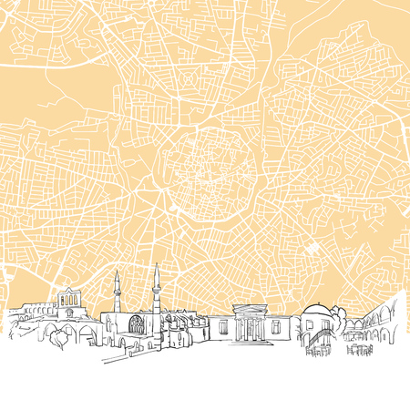 urbane: Nicosia Cyprus Skyline Map, One Color Scalable Vector Art Print with Urban Cityscape Illustration Illustration