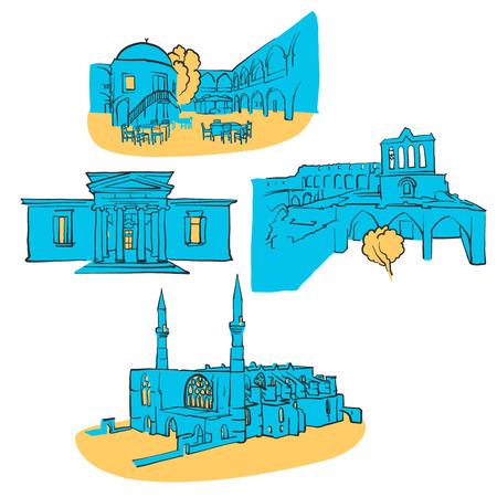 Nicosia Cyprus Colored Landmarks.